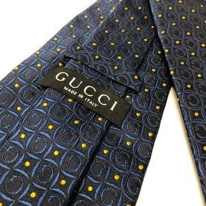 Gucci Vintage Navy Blue Gold 100% Silk Neck Tie
